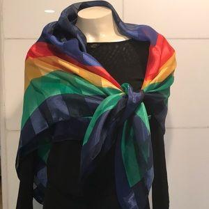 Vintage rainbow silk large scarf